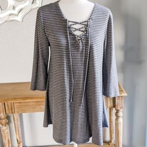 Hannah Gray and Blue Striped Lace Up Tunic